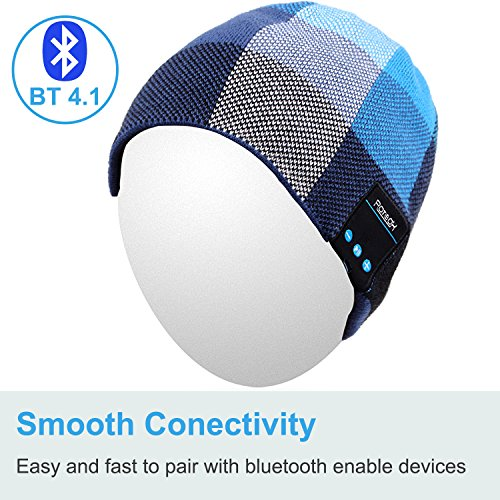 Qshell Bluetooth Hat, Rechargeable Audio Beanie Fashional Double Knit Skully Cap with Wireless Stereo Headphone Headset…