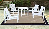 Brown Jordan Prime Label Patio Furniture Rug 9x12 Furman Collection Sisal Woven Modern Blue Outdoor Rugs, Navy, XL