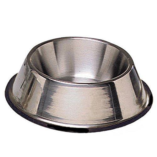 DOG BOWL - No Tip Mirror Finish Super Heavy Duty Rubber Base Dishes for Dogs(24oz (3 cups/709ml) - 1.5 Pint) (Mirror Dish Tip)