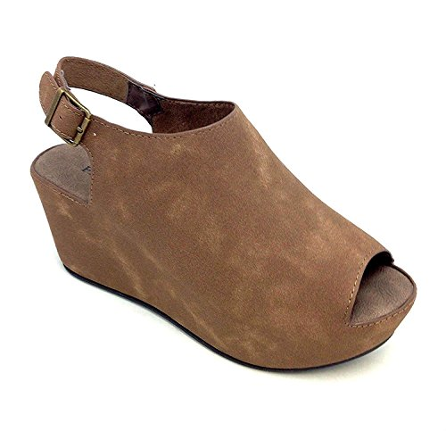 Pierre Dumas Ladies Open Toe Platform Wedge (9 B(M) US, Taupe Suede)