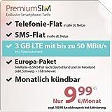PremiumSIM LTE 2000 [SIM, Micro-SIM und Nano-SIM] monatlich kündbar (3 GB LTE mit max. 50 Mbit/s inkl. Datenautomatik, Telefonie-Flat und SMS-Flat. Europa-Paket: Telefonie- & SMS-Flat nach Deutschland und im Reiseland (inkl. Schweiz) und 1 GB Internet, 9,99 Euro/Monat)