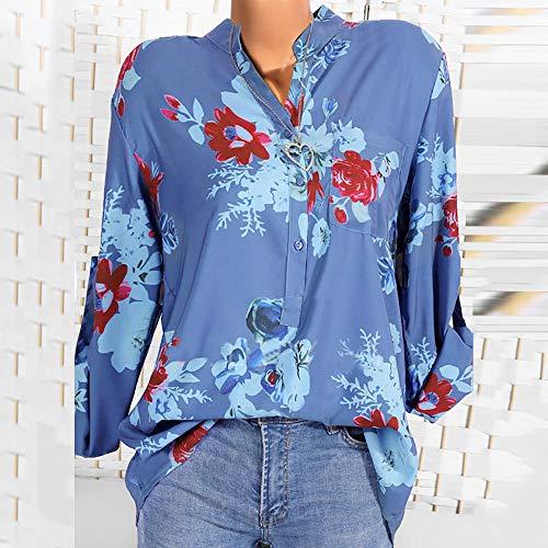 Top IrrGuliRe Bouton Imprim De en Mode Chemisier Top Bleu Soie Hem Mousseline T Soie De en Floral Femmes Mousseline Blouse Casual Guesspower Shirt YPvUq
