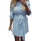 HI-MZY Summer Casual Slash Neck Belt Striped 3/4 Sleeve Cold Off Shoulder Sexy Short Mini Dress (M, Blue)