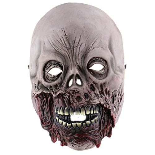 Zhuoxin Halloween Cosplay Costume Latex Scary Skull Half Face Mask for Adults Bad Face Zombie (Biochemical Skeleton) (Halloween Faces Zombie)