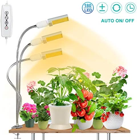 Upgraded 90W Plant Grow Light for Indoor Plant,SEZAC 180 LED Timing Full Spectrum Plant Lights Auto On Off with 3 6 12H Timer 5 Dimmable Levels Brightness 3 Switch Modes 90W 3 Heads Lights