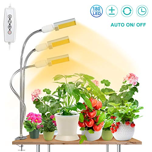 [Upgraded] 90W LED Grow Light for Indoor Plant,SEZAC 180 LED Timing Full Spectrum Plant Lights Auto On/Off with 3/6/12H Timer 5 Dimmable Levels Brightness & 3 Switch Modes (90W 3 Heads Lights)