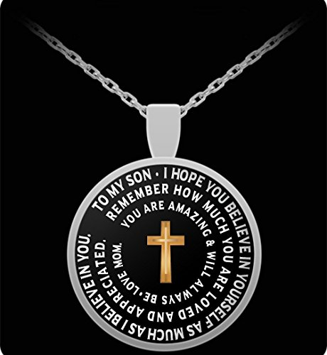 Son Gift From Mom - Cross Necklace - Inspirational Pendant From Mother