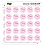 """Graphics and More Personalized Custom Oh Baby Pink Shower Announcement Planner Calendar Scrapbooking Crafting Stickers - 50 1"""" Clear Stickers"""