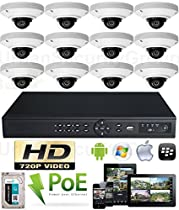 USG High Definition IP CCTV Kit: 1x 16 Channel NVR + 12x 3.6mm PoE IP Dome Cameras + 1x 2TB HDD *** Easy Setup *** View Remotely On Your Phone, Tablet & Computer *** High Definition CCTV Video Surveillance