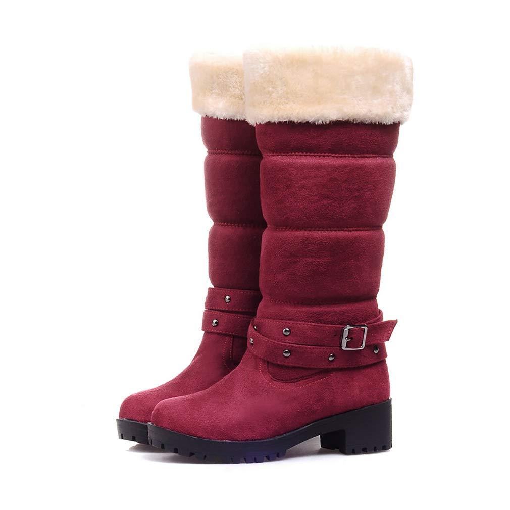 Hy Damenschuhe Suede Herbst/Winter Comfort Cotton Stiefel Schneestiefel Stiefel/Damen Winter New Square Heel Mittelrohr Stiefelies/Stiefeletten Student Warm Skiing Schuhe (Farbe : B, Größe : 38)