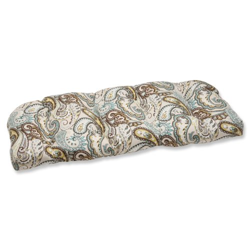 Pillow Perfect Outdoor Tamara Paisley Quartz Wicker Loveseat Cushion from Pillow Perfect