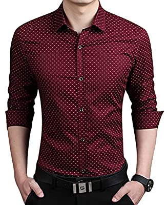 QZUnique Men's Big & Tall Plaid Pattern Slim Fit Long Sleeve Cotton Dress Shirt