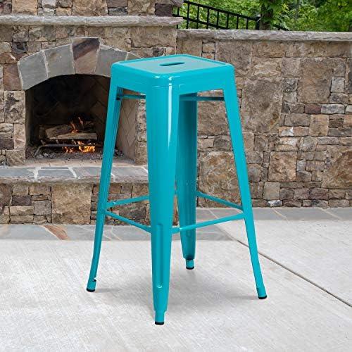 Flash Furniture Commercial Grade 4 Pack 30″ High Backless Crystal Teal-Blue Indoor-Outdoor Barstool