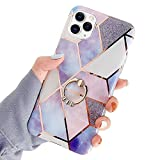PHEZEN Marble Case for iPhone 11 Pro Max Case Cover Diamand Ring Holder Kickstand Ultra Slim Soft Silicone Gel Rubber Bumper Case,Splice Painted Marble Shockproof Protective Case Cover,Purple