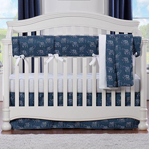 Navy Tribal Elephants Bumperless Crib Bedding 4-Piece ()
