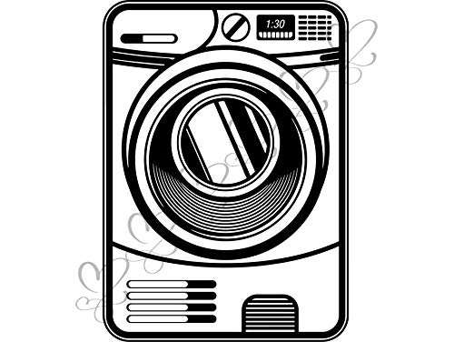 (Yetta Quiller Washing Machine Washer Button Sewing Item Laundry Appliance Door Dryer Circle Vector Clipart Digital Circuit Vinyl Wall Decor Cutting)