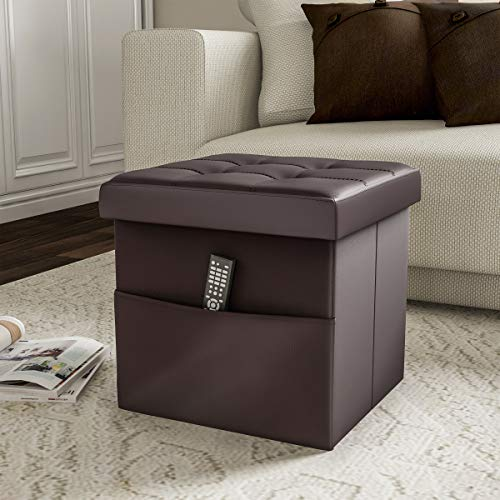 Lavish Home 80-FOTT-4 Foldable Storage Cube Ottoman with Pocket Tufted Faux Leather Footrest Organizer for Bedroom, Living Room, Dorm or RV, 2 Pack Stage, Chocolate Brown