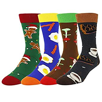 Zmart 4 Pack Men's Funny Novelty Cotton Crew Food Socks Christmas Gift Box