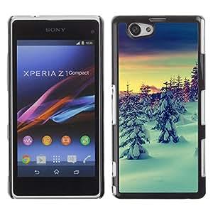 Caucho caso de Shell duro de la cubierta de accesorios de protección BY RAYDREAMMM - Sony Xperia Z1 Compact D5503 - Snow Winter Picea Trees Mountain Sky