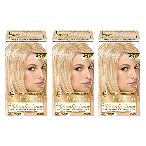 L'Oréal Paris Superior Preference Fade-Defying + Shine Permanent Hair Color, LB02 Extra Light Natural Blonde, 3 COUNT Hair Dye