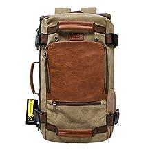 ECOSUSI Vintage Canvas Backpack Travel Duffel Bag Rucksack Hiking Bag Casual Daypack