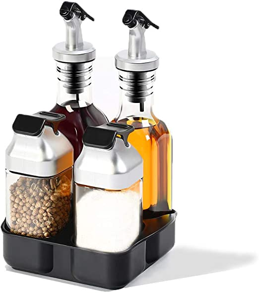 Salt and Pepper shakers Set with Tray Stainless Steel with Glass Bottle Set of 2
