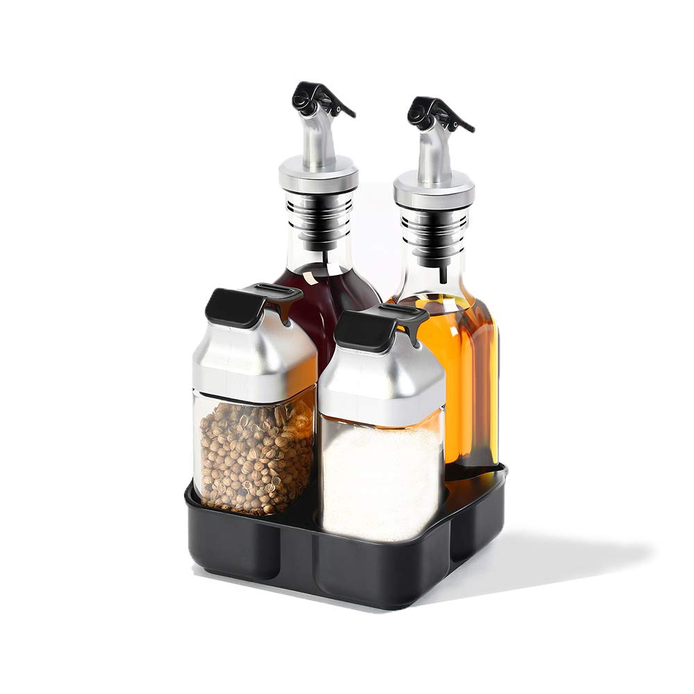Oil and Vinegar Salt and Pepper Dispenser Set for Home and Kitchen, Non-Drip Spouts with Study Tray Holder| 5-Piece Includes 2 Oil and Vinegar Dispenser and 2 Salt and Pepper Shaker| by vvise