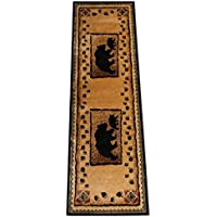 Champion Rugs Rustic Lodge Log Cabin Bear and Cub Area Rug Carpet (2 Feet 2 Inch X 7 Feet 2 Inch Runner)