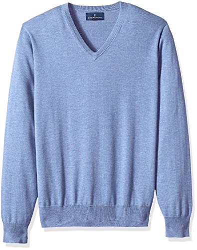 - BUTTONED DOWN Men's Supima Cotton Lightweight V-Neck Sweater, blue, X-Large