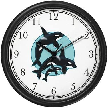 WatchBuddy Killer Whale Orca Family Wall Clock Timepieces Black Frame