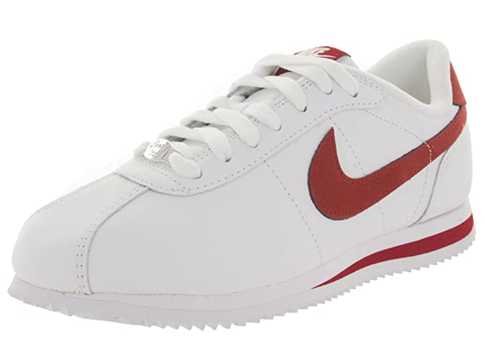 buy online f9714 a4e8a Amazon.com   Nike 316418-162 Men Cortez Basic Leather 06 White White Varsity  RED   Running