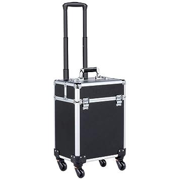 Yaheetech gran maletín maquillaje onglerie con ruedas Valis cosméticos profesional Beauty Case, tija de paquete telescópica, con cerraduras y llaves: ...
