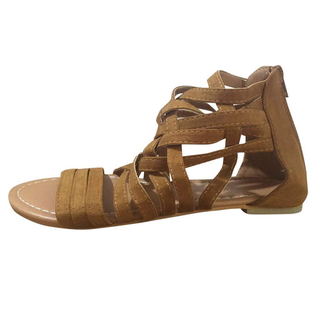 90103ef9384 Amazon.com: Women Ankle Strap Sandals Open Toe Zipper Flat Shoes ...