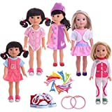 ZWSISU 5PCS doll Clothes and Shoes 12pcs Hairpin belt Set for 14 inch 14.5 inch American Girl Doll Wellie Wishers Willa Dolls