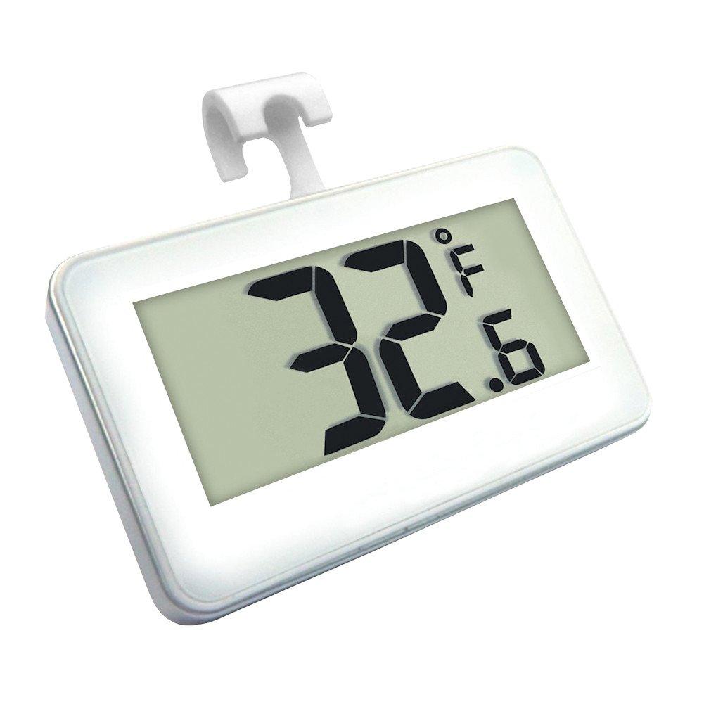 Refrigerator Thermometer -Shelf Mounted -Large Digital Readout-Warm Temp Warning