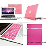Macbook Air 11 Inch Case,3 in 1 Rubberized Hard Shell Case Cover + Keyboard Cover + Soft Sleeve Bag for MacBook Air 11.6 inch (Model: A1370 / A1465),Pink