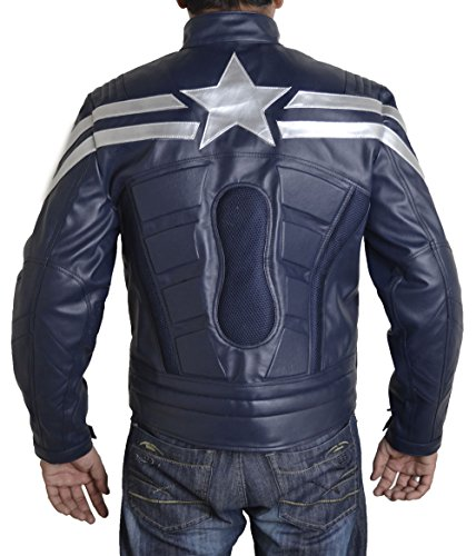 Faux Cuir Captain The Veste Mens Xxs Soldier America 5xl Bleu V2 Bskull En fZ4BW