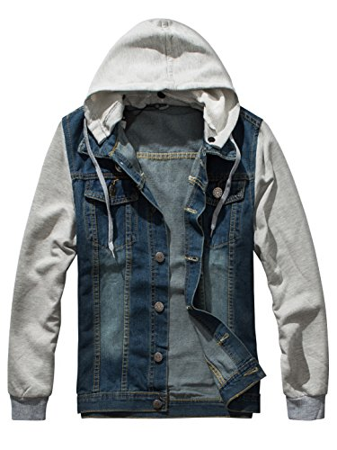 DAVID.ANN Men's Casual Denim Patchwork Hooded Jacket,X-Large