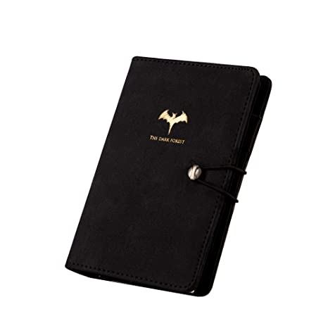 Undated Organizer Planner Binder Journal Daily Monthly Planner Agenda Black Leather Spiral Diary with Dividers Pen Holder Notebook Bat