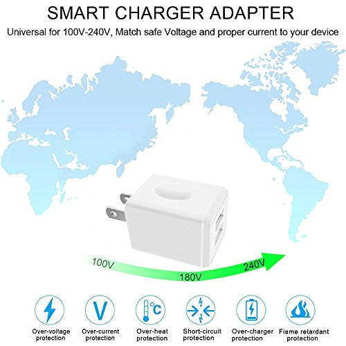 USB Wall Charger, 2-Pack 2.1A/5V Dual Port USB Plug Power Adapter Charging Cube Compatible iPhone X 8/7/6 Plus SE/5S/4S,iPad, iPod, Samsung, Android Phone -White by UltraSealers (Image #3)
