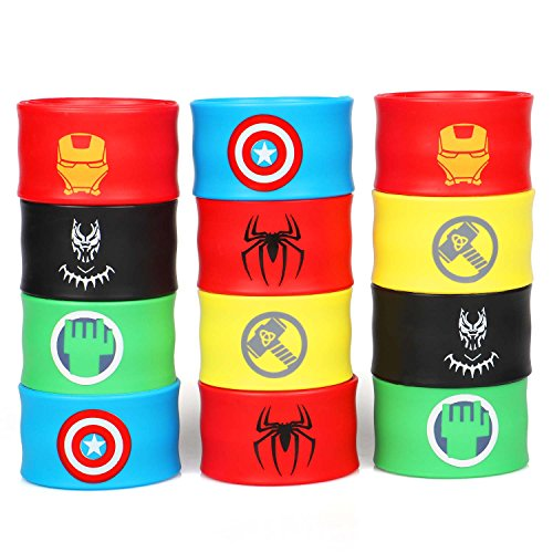 Superhero Slap Bracelets for Kids Boys & Girls Birthday Gifts Party Supplies Favors Wristband Accessories Wrist Strap (12 pack)