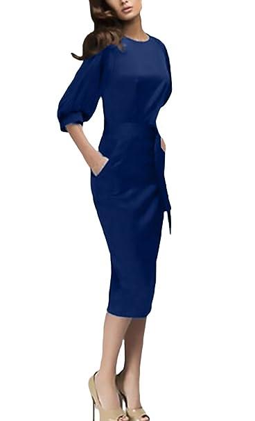 Donna Vestiti Eleganti da Cerimonia Manica Unico 3/4 Rotondo Collo Tubino  Pacchetto Hip al Ginocchio Abito Vintage Moda Giovane Semplice Puro Colore  Casual
