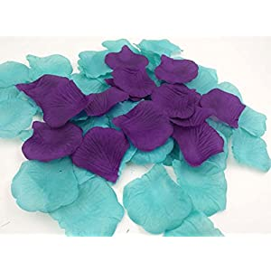 1000PCS Multicolor Faux Flower Girl Rose Petals Dark Purple and Turquoise Wedding Decorations Reception Table Scatter Floor Confetti Bridal Shower Party Supplies 2