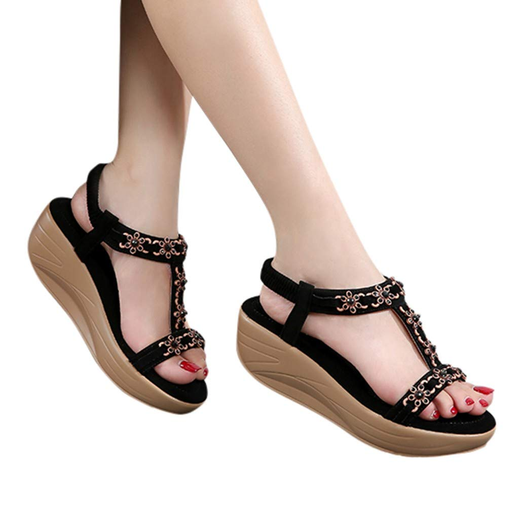 ✔ Hypothesis_X ☎ Womens Wedges Sandals, Bohemian Pearl Crystal Flat Sandals,Flip Flop Casual Shoes Black by ✔ Hypothesis_X ☎ Shoes (Image #3)