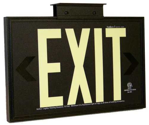 Everglow Aluminum Post - EverGlow 90.8924B-1-F-B Aluminum Single Side Code Approved Photoluminescent Sign with Standard Architectural Frame and Mounting Bracket,Exit, 14-29/32