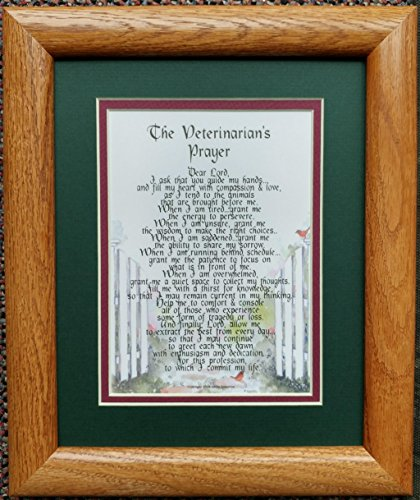 Med Oak Frame - A Framed Thank-You Gift Present Poem For A Veterinarian # 3169