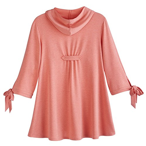 Ahh By Rhonda Shear Women's Zippered Swing Jacket - Tie Cuff 3/4 Sleeve Hoodie - Coral - Large by Ahh By Rhonda Shear (Image #1)
