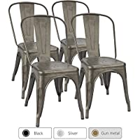 Furmax Metal Dining Chair Indoor-Outdoor Use Stackable...