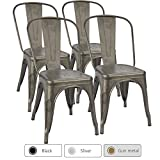 Furmax Metal Dining Chair Indoor-Outdoor Use Stackable Chic Dining Bistro Cafe Side Metal Chairs Gun Metal(Set of 4)