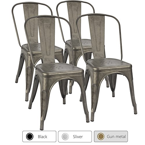 Furmax Metal Dining Chair Tolix Style Indoor-Outdoor Use Stackable Chic Dining Bistro Cafe Side Metal Chairs Gun Metal(Set of 4) (Chairs Tables Metal And)